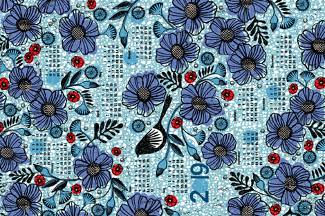 2019 Blue blooms and black bird tea towel calendar fabric by ottomanbrim on Spoonflower - custom fabric
