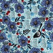 2019 Blue blooms and black bird tea towel calendar