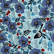 2020 Blue blooms and black bird tea towel calendar