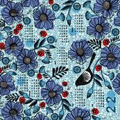2020 Blue blooms and black bird tea towel calendar