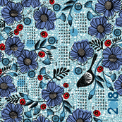 2018 Blue blooms and black bird tea towel calendar