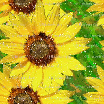 sunflower pointillism dark