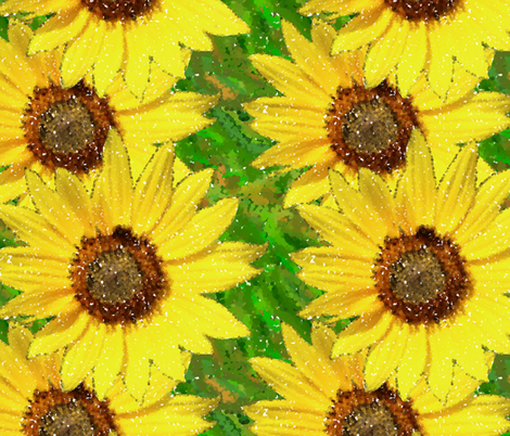 sunflower pointillism dark fabric by elizabethmay on Spoonflower - custom fabric