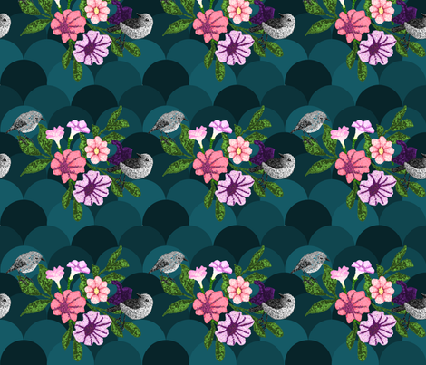 Robins in Petunias fabric by driessa on Spoonflower - custom fabric