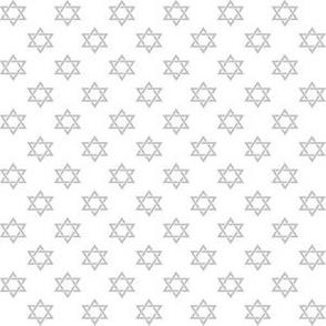 Half Inch Matte Silver Star of David on White