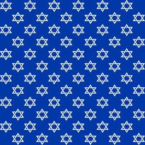 Half Inch White Star of David on Blue