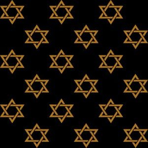 One Inch Matte Antique Gold Star of David on Black