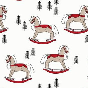 rocking horse fabric // vintage christmas toys design by andrea lauren - red
