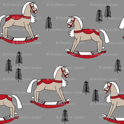 rocking horse fabric // vintage christmas toys design by andrea lauren - grey and red