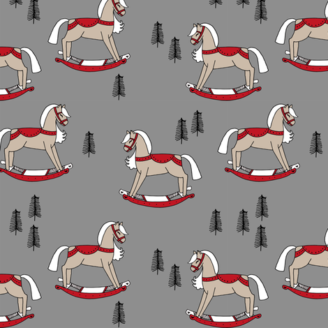 rocking horse fabric // vintage christmas toys design by andrea lauren - grey and red fabric by andrea_lauren on Spoonflower - custom fabric