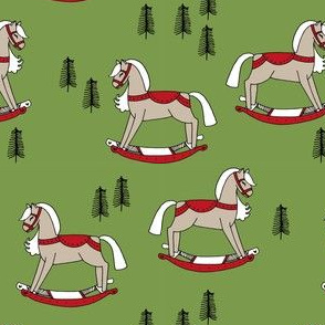 rocking horse fabric // vintage christmas toys design by andrea lauren - green and red