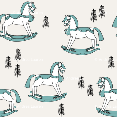 rocking horse fabric // vintage christmas toys design by andrea lauren - light blue