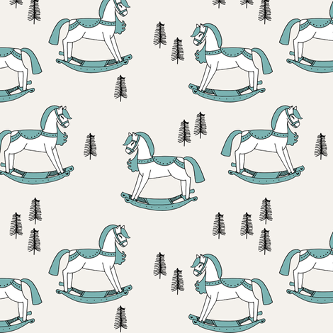 rocking horse fabric // vintage christmas toys design by andrea lauren - light blue fabric by andrea_lauren on Spoonflower - custom fabric