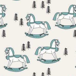 rocking horse fabric // vintage christmas toys design by andrea lauren - light blue