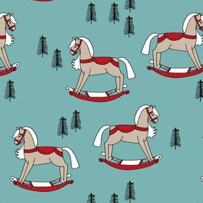 rocking horse fabric // vintage christmas toys design by andrea lauren - blue and red