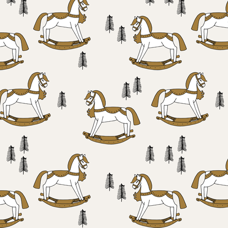 rocking horse fabric // vintage christmas toys design by andrea lauren - neutral fabric by andrea_lauren on Spoonflower - custom fabric