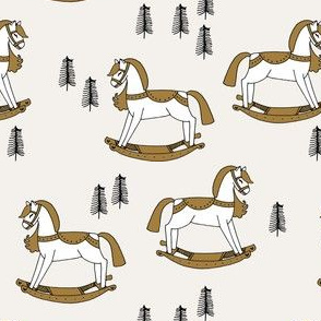 rocking horse fabric // vintage christmas toys design by andrea lauren - neutral