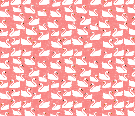SwansCoral fabric by wolfandrabbitfabrics on Spoonflower - custom fabric