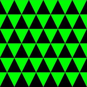 One Inch Black and Lime Green Triangles