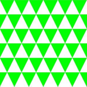 One Inch White and Lime Green Triangles