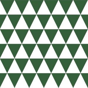 One Inch White and Hunter Green Triangles