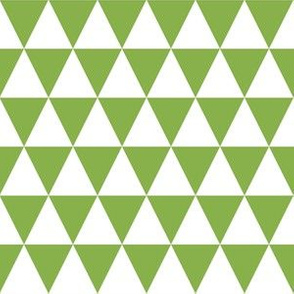 One Inch White and Greenery Green Triangles