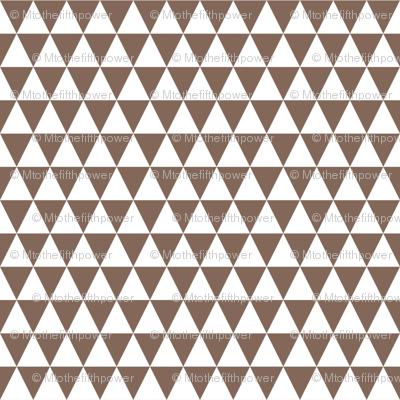 Half Inch White and Taupe Brown Triangles