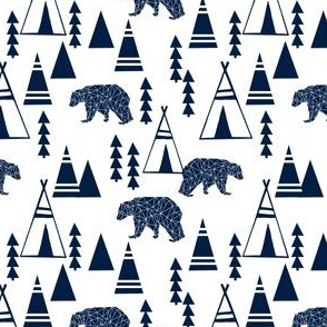 TeePee Forest fabric //- Navy by Andrea Lauren  smaller version