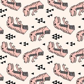 dinosaurs // pink dino dinos dinosaurs prehistoric kids dinos trex t-rex tyrannosaurus rex fabric pink railroad