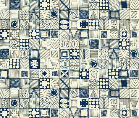 wolf geo blue ivory fabric by scrummy on Spoonflower - custom fabric