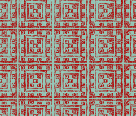 Sage and red blocks fabric by twigsandblossoms on Spoonflower - custom fabric
