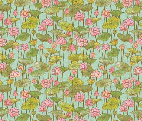 Lotus Flowers {Blue} fabric by ceciliamok on Spoonflower - custom fabric