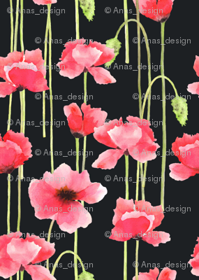 Watercolor Poppies Black
