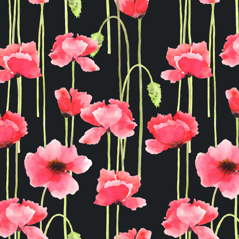 Watercolor Poppies Black fabric by align_design on Spoonflower - custom fabric