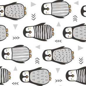 Penguins Black&White  with Sweater Geometric and Triangles  in Grey on White Rotated
