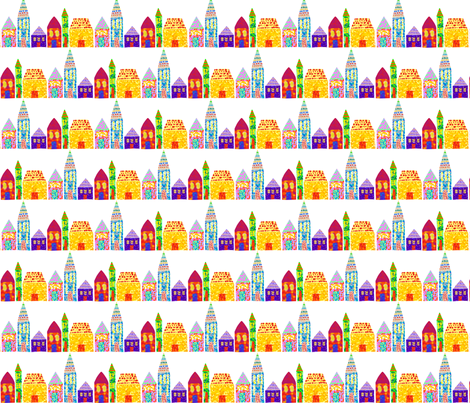 pointed houses fabric by doloube on Spoonflower - custom fabric