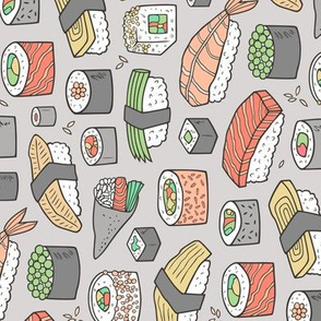 Sushi on Light Grey Rotated