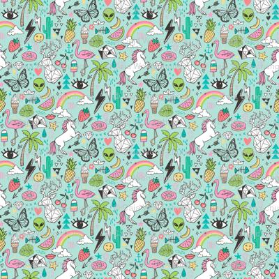 Summer Doodle Geometric Triangle Deer & Unicorn Rainbow Cactus Flamingo Pineapple on Mint Green Smaller