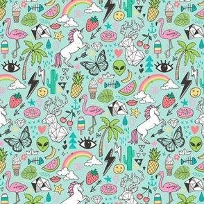 Summer Doodle Geometric Triangle Deer & Unicorn Rainbow Cactus Flamingo Pineapple on Mint Green Smaller