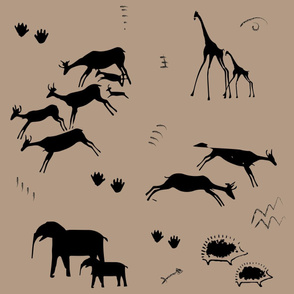 Safari cave drawings cave painting african elephants giraffes antelope