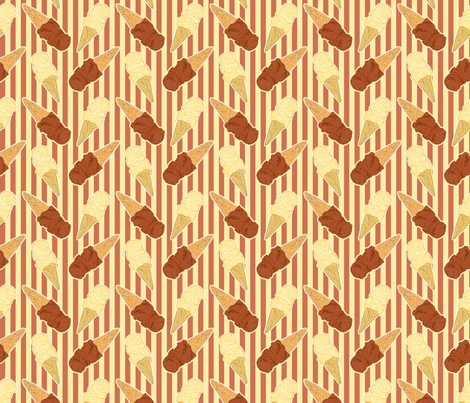 chocolate and vanilla ice cream cones fabric by heretherebemonsters on Spoonflower - custom fabric