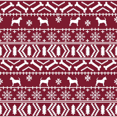 Chihuahua fair isle christmas dog fabric maroon fabric ...