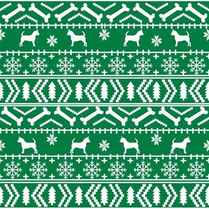 Chihuahua fair isle christmas dog fabric green