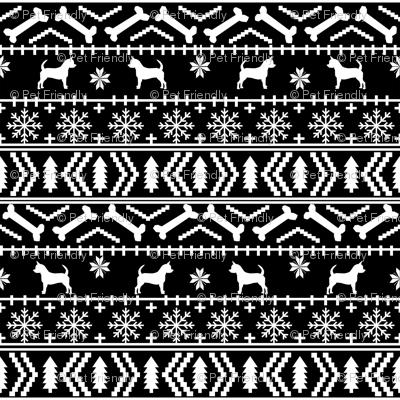 Chihuahua fair isle christmas dog fabric black and white