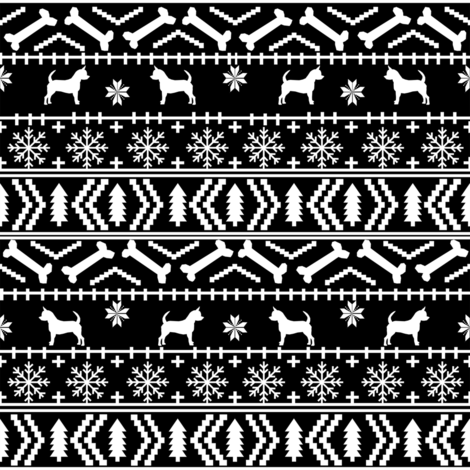 Chihuahua fair isle christmas dog fabric black and white fabric by petfriendly on Spoonflower - custom fabric