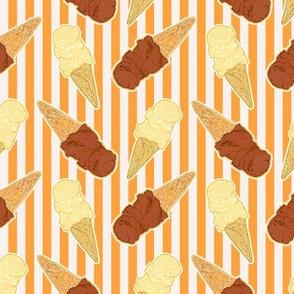 chocolate and vanillaice cream cones on orange stripe