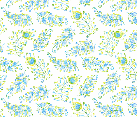 Feathers in dots fabric by lauraflorencedesign on Spoonflower - custom fabric