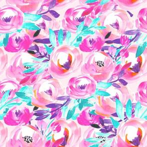 Cyan Pink Bright Modern Floral
