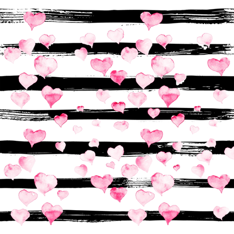 Small // Watercolor Pink Hearts on Black Stripes fabric by hipkiddesigns on Spoonflower - custom fabric