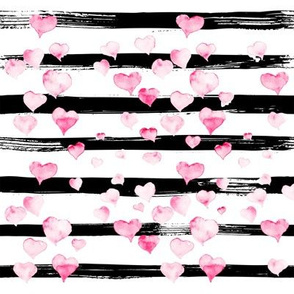 Small // Watercolor Pink Hearts on Black Stripes